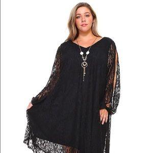 4X-5X-6X: Black Elegant Lace Open-Sleeve Dress